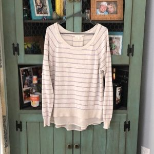 Adorable cream and periwinkle sweater with chiffon